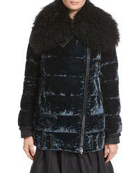 Moncler - Isabelle Velvet Puffer Coat W/ Shearling Collar - Lyst