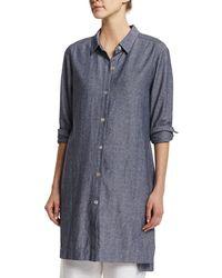Go> By Go Silk - Long-sleeve Cross-dye Linen Duster Jacket - Lyst