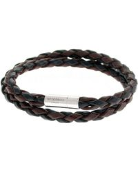 Tateossian Men's Braided Leather Double-wrap Bracelet, Brown/black - Metallic
