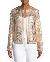 Neiman Marcus - Metallic Leather Leaf & Mesh Combo Jacket - Lyst