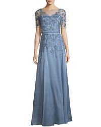 Jenny Packham - Short-sleeve 3-d Floral Embroidered Evening Gown - Lyst