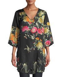 Johnny Was - Plus Size Charlotte Rose-print Silk Blouse - Lyst