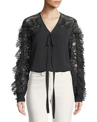 Elie Saab - Lace-sleeve V-neck Tie-front Silk-blend Blouse - Lyst