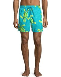 1489b9e805 Vilebrequin Classic Swim Trunks Pink Turtles in Blue for Men - Lyst
