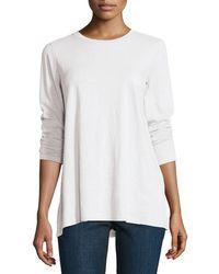 Eileen Fisher - Long-sleeve Slubby Organic Jersey Top - Lyst