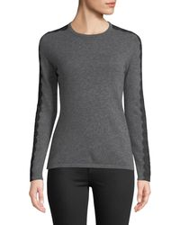 Neiman Marcus - Crewneck Cashmere Sweater With Lace Trim - Lyst