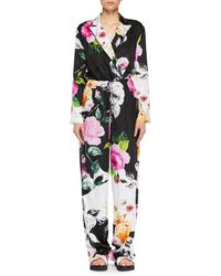 Off-White c/o Virgil Abloh - Long-sleeve Floral-jacquard Wide-leg Silk Jumpsuit - Lyst
