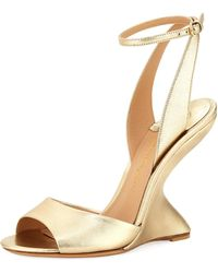 Ferragamo - Arsina 105 Metallic Curved Wedge Sandals - Lyst
