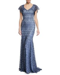 THEIA - Guipure Lace Mermaid Gown - Lyst