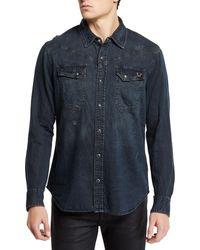 True Religion - Men's Carter Cotton Western Button-down Shirt - Lyst