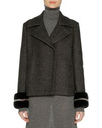 Agnona | Wool-cashmere Peacoat With Mink Fur Cuffs | Lyst