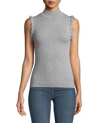 Rebecca Taylor - Sleeveless Ruffle Merino Wool Turtleneck Sweater - Lyst