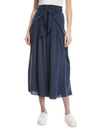 MILLY - Cropped Pants With Sarong Waist Detail - Lyst