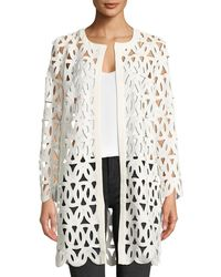 MILLY - Long-sleeve Open-front Sheer Lace Embroidered Coat - Lyst