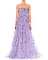 Carolina Herrera - Strapless Heart-print Draped Tulle Gown - Lyst