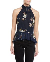 Joie - Abbigayl Floral-print Silk Halter Peplum Top - Lyst