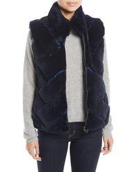 Pologeorgis - Chevron-quilted Reversible Nylon & Fur Puffer Vest - Lyst