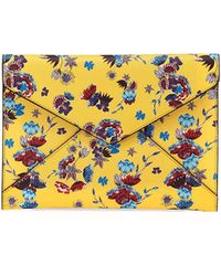Rebecca Minkoff - Leo Saffiano Leather Floral Envelope Clutch Bag - Lyst