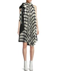 Awake - Reversible Pleated Tie-neck Shift Dress - Lyst