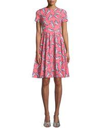 Carolina Herrera - Zebra-print Short-sleeve Party Dress - Lyst
