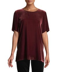 Eileen Fisher - Short-sleeve Velvet Box Top - Lyst