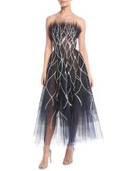 Oscar de la Renta - Strapless Crystal-embellished Tulle Tea-length Evening Gown - Lyst