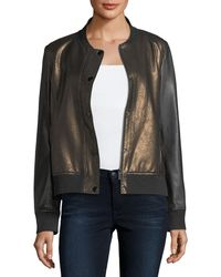 Neiman Marcus - Sueded Leather Bomber Jacket - Lyst