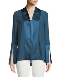 929bc8510ac2ee Lyst - Theory Tie-cuffs Button-front Pinstripe Crepe De Chine Silk ...