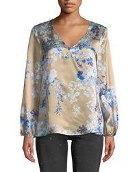 Eleventy - Floral-printed Silk Blouse - Lyst