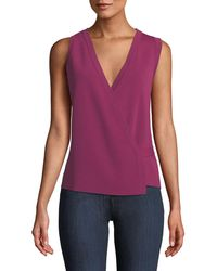 Theory - Sleeveless Lustrate Crepe Wrap Top - Lyst