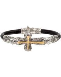 Konstantino - Men's Stavros Cross-inlay Leather Bracelet - Lyst