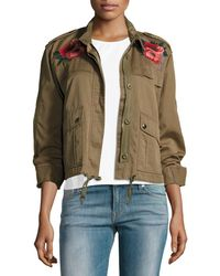 Velvet - Cropped Utility Jacket W/ Embroidery - Lyst