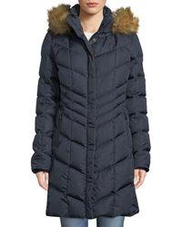 Bogner - Kiara Long Chevron Down Puffer Coat W/ Hood & Faux-fur Trim - Lyst