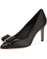 Ferragamo - Zeri Mid-heel Leather Bow Pumps - Lyst