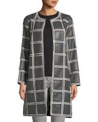 ESCADA - Grid-pattern Snap-front Lamb Leather Topper Coat - Lyst