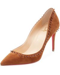 Christian Louboutin - Anjalina Suede Spiked Red Sole Pump - Lyst