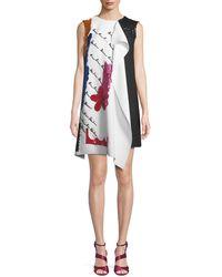 Oscar de la Renta - Draped Embroidered Wool Cocktail Dress - Lyst
