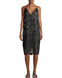 Urban Zen - V-neck Block-print Devore Shift Dress - Lyst