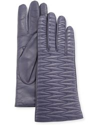 Portolano - Leather Weave Quilted Gloves - Lyst