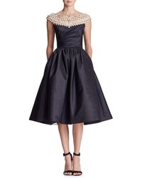 Marchesa - Pearl-embellished Off-the-shoulder A-line Dress - Lyst