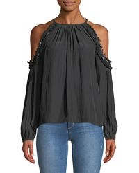 Ramy Brook - Anne Beaded Cold-shoulder Blouse - Lyst