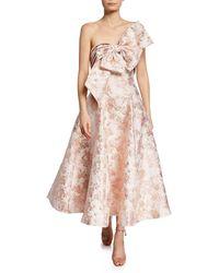 5ce5d0210a4f2 Badgley Mischka - Ballerina Bow Strapless Jacquard Cocktail Dress - Lyst