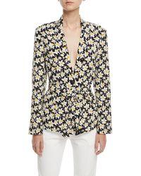 JOSEPH - Alex Daffodil-print Belted Silk Jacket - Lyst