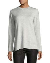 Akris - Crewneck Long-sleeve Striped-back Knit Pullover Top - Lyst