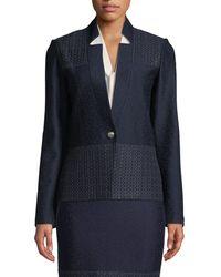 St. John - Caris Knit Lace-trim Jacket - Lyst