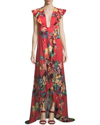 Alexis - Jana Floral-print Cotton High-low Maxi Wrap Dress - Lyst