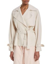 Vince - Cropped Double-breasted Trench Coat - Lyst