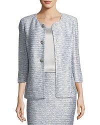 St. John - Glint-knit Metallic Peplum Jacket - Lyst