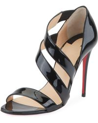 daaddfb39e4f Christian Louboutin Amazoulo Lace-up Red Sole Sandal in Black - Lyst