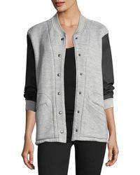Current/Elliott | Classic Snap-front Varsity Jacket W/ Contrast Sleeves | Lyst